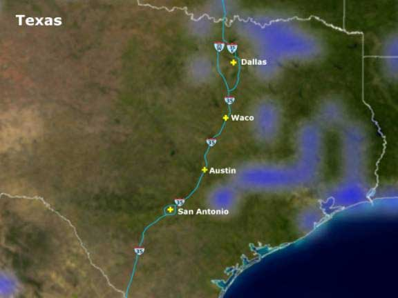 Rain south east of all major cities in Texas
