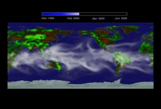 A flat image of the Earth shows waifs of water vapor hovering over the equitorial region