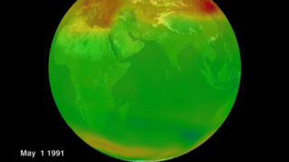Globe of the Earth showing Ozone levels