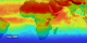 This erythemal index for Europe and Africa shows the range of ground levels of UV radiation from the highest (in red) to the lowest (in purple).  This animation shows the fluctuation with the red areas moving from the equatorial region, Southward, then back to the middle as time passes from August, 2000 to July, 2001.