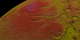 Topography of the south pole of Mars shown colored by elevation