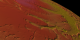 A close view of the topography of the south pole of Mars shown colored by elevation
