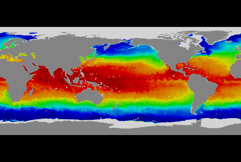 SVS Aqua First Light AMSRE Sea Surface Temperature on a Flat Map – Earth Temperature Map