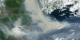 This image show the heavy smoke moving along the east coast and into the Atlantic.