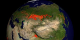 This animation shows fires detected over Asia from 8-21-2001 through 8-20-2002  with a clock inset.
