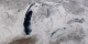 A view of the Great Lakes on March 9, 2003.  Note how Lakes Superior, Huron, Erie, and Ontario are completely frozen over.