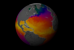 This animation show a year in the life of global ocean temperatures, June 2, 2002 to May 11, 2003. Green indicates the coolest water temperatures. Yellow shows the warmest temperature.