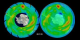 Total ozone density over the South Pole, as measured by Earth Probe TOMS in 1999