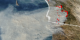 This image shows San Diego, California on October 27, 2003.  Red fire pixels have been laid on top of the Aqua-MODIS image to show the start of each incident fire.