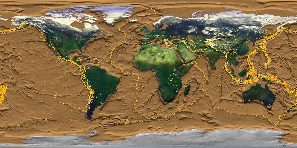 mapa světa - hranice litosférických desek