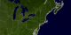 The East Coast of the United States. Blue Marble data set with state lines and country boundaries.