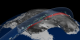 A view of Antarctica showing ice sheet elevation and cloud data from ICESat