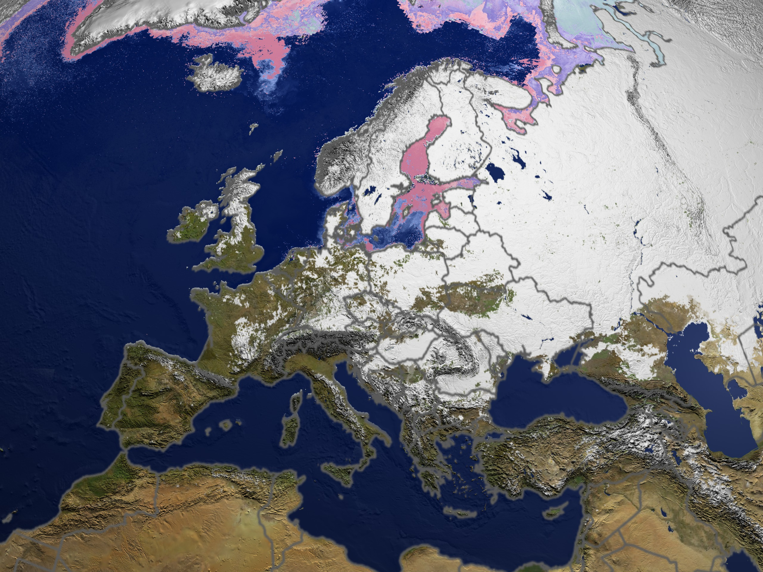 Snow Map Europe.Svs Daily Snow And Sea Ice Temperature Over Europe