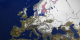 This image shows the snow cover and sea ice surface temperature over Europe on February 7, 2003.