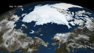 The animation of Arctic sea ice from January 1 through September 12, identified by NSIDC as the minimum extent for 2008. This animation has a two second hold on September 12, 2008. The date is displayed in the upper left corner.