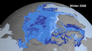This sequence shows Arctic sea ice thickness derived from winter and fall campaigns from the ICESat satellite. Sea ice grows extent grows in the summer and shrinks in the winter. While the sea ice extent might look similar from year to year this thickness data shows dramatic thinning especially near the North Pole (shown in dark blue). This image was generated with data acquired between Feb 17 - Mar 21, 2008.