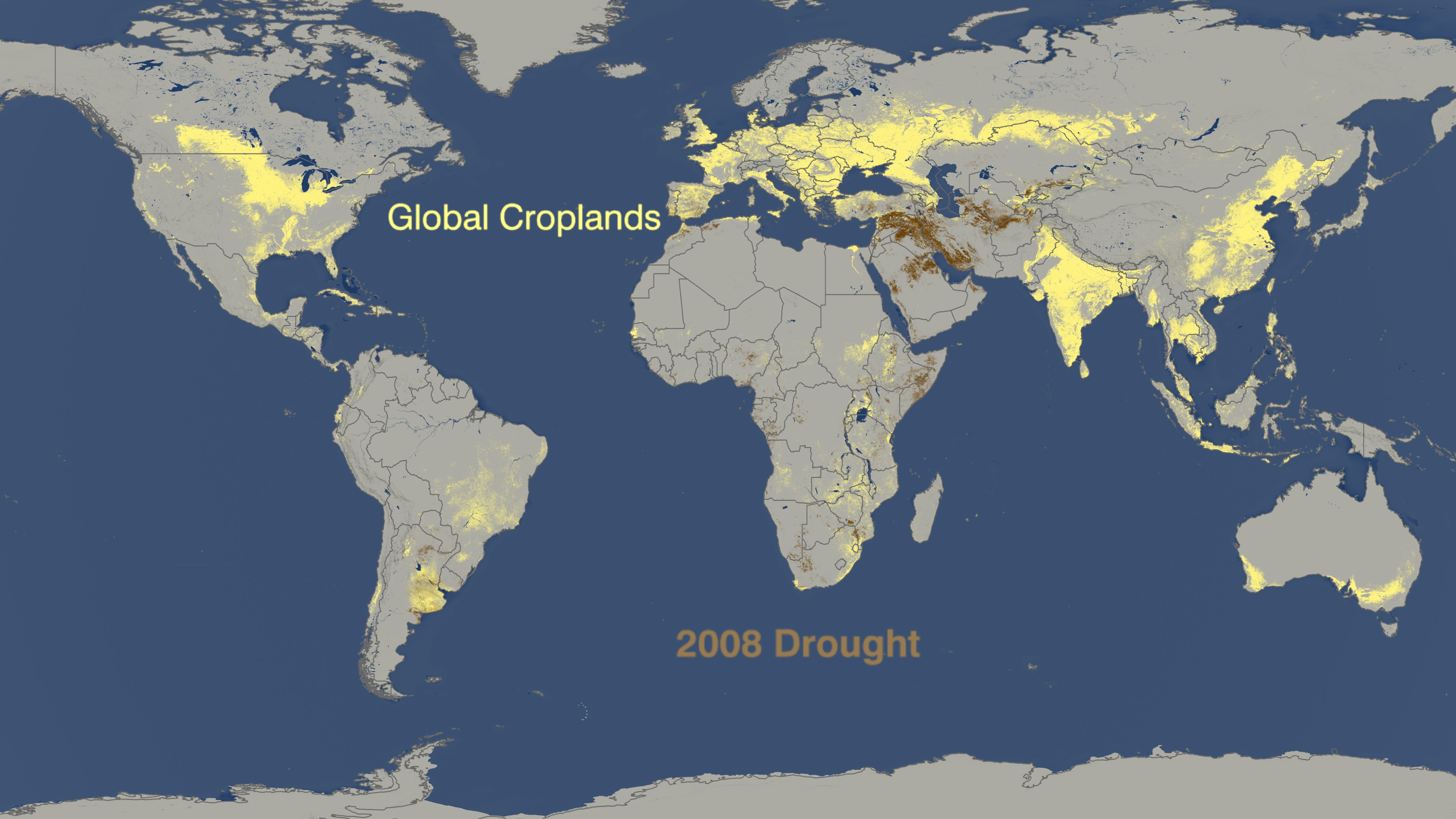 SVS World Droughts From To Versus Where Crops Are Grown - Nasa us drought maps