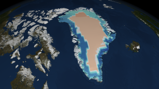 This animation shows mass changes over Greenland without the chart, colorbar or seasonal clock.