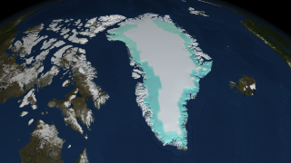 A high resolution still image of ice sheet mass changes over Greenland on 07/25/2005.