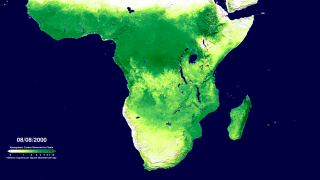 The gross primary productivity of Africa's southern land areas for the period 2000-2009 as calculated from Terra's MODIS instrument.  The original 8-day average GPP data has been smoothed to a 24-day average to make the animation less noisy. This animation shows the full resolution of the 1-km dataset.  This version adds a date and colorbar to the animation.