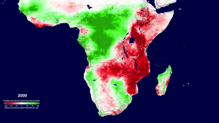 The change from normal of the annual net primary productivity of southern Africa's land areas for the period 2000-2009 as calculated from Terra's MODIS instrument.  This animation shows the full resolution of the 1-km dataset.  This version adds a date and colorbar to the animation.