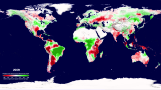 The change from normal of the annual net primary productivity of the world's land areas for the period 2000-2009 as calculated from Terra's MODIS instrument.  This version adds a date and colorbar to the animation.