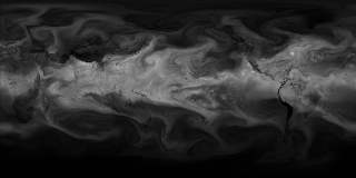 This visualization based on GEOS-5 model data shows atmospheric water vapor.