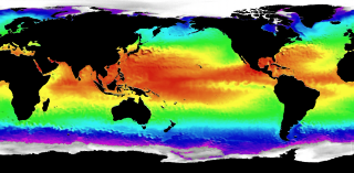 Mid-latitude heat radiates to the planet's poles. This global ocean temperature image comes from ECCO model data.
