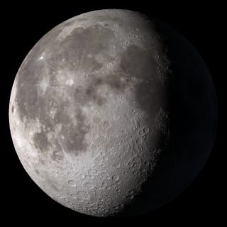 Waning gibbous. Rises after sunset, high in the sky after midnight, visible to the southwest after sunrise.