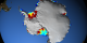 Animation of circulation around ice shelves of Antarctica.