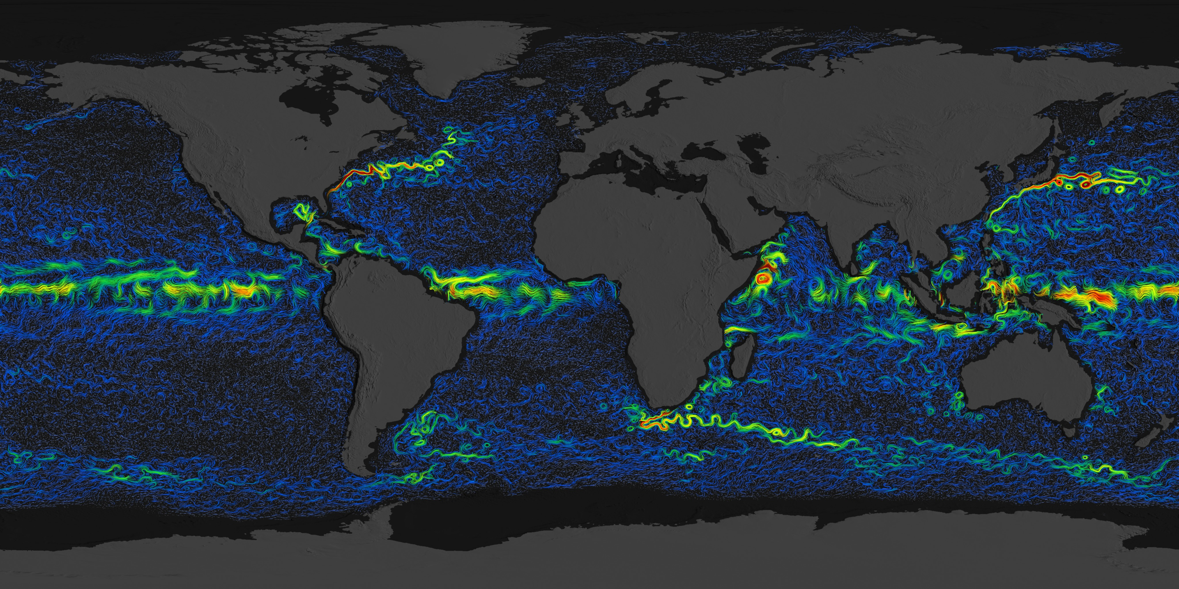 SVS: OSCAR Ocean Currents with Velocity on satellite maps of the atlantic ocean, satellite map of atlantic ocean floor, satellite maps of north pole,