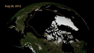 The 2012 overlay showing the land area, average sea ice minimum line and date with transparency.