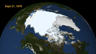 The sea ice concentration from September 21, 1979 compared to the average sea ice minimum from 1979 through 2010 shown in orange.
