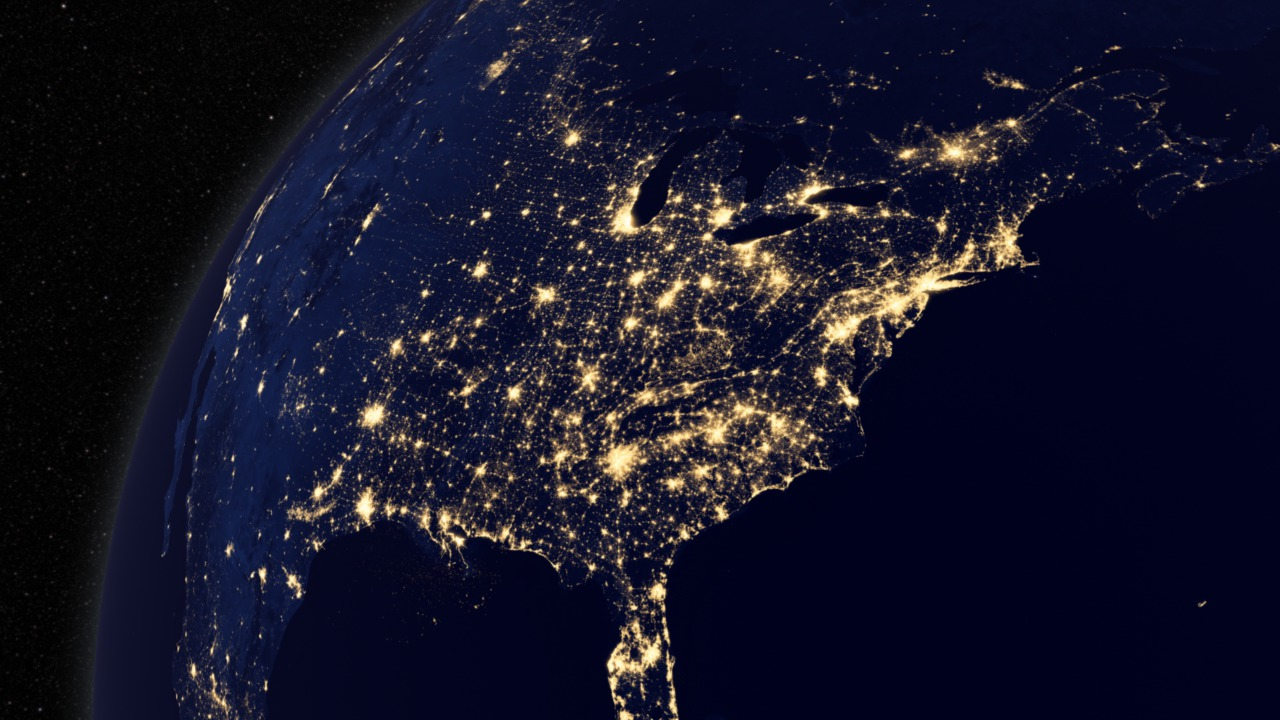 Image result for us at night captured from space