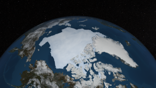 A still image of the Arctic sea ice on September 13th, 2013.