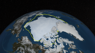 A still image of the Arctic sea ice on September 12, 2013 with a yellow line identifying the 30-year average extent.