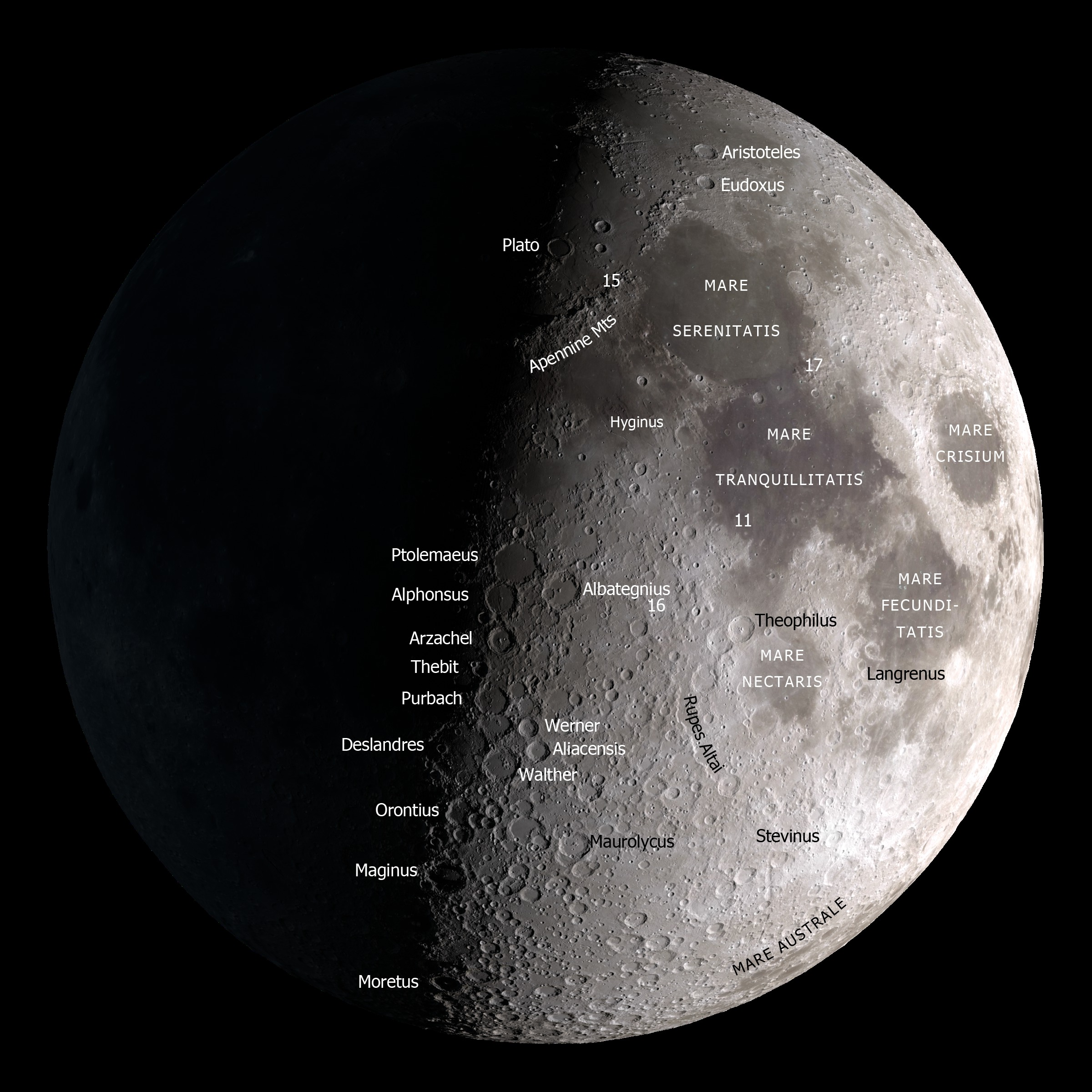 lunar craters map