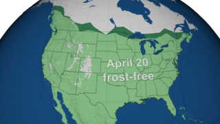 Link to Recent Story entitled: Early Spring Frost-Free Regions: Comparing 1950s and 2010s