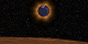 With the lunar horizon in the foreground, the Earth passes in front of the Sun, revealing the red ring of sunrises and sunsets along the limb of the Earth. The