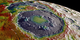 A high-resolution free-air gravity map based on GRAIL data, overlaid on terrain based on LRO altimeter (LOLA) and camera (LROC) data. The view is south-up, with the south pole near the horizon in the upper left and the crescent Earth in the distance. The terminator crosses the eastern rim of the Schrödinger basin. Gravity is painted onto the areas that are in or near the night side. Red corresponds to mass excesses and blue to mass deficits.