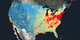 Nitrogen dioxide levels for the continental United States.