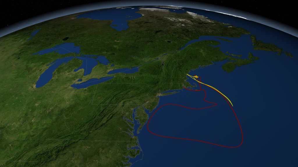 This image shows one of the possible ship paths (red) and coordinated aircraft flight lines (yellow) for SABOR. Scientists on the National Science Foundation's Research Vessel Endeavor, operated by the University of Rhode Island, depart from Narragansett, Rhode Island on July 18 to cruise through a range of ecosystems and water types between the U.S. East Coast and the Bahamas. NASA's UC-12 airborne laboratory, based at NASA's Langley Research Center in Hampton, Virginia, will begin making science flights over the Atlantic on July 20.