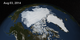 In this animation, the Earth rotates slowly as the Arctic sea ice advances over time from March 21, 2014 to August 3, 2014.