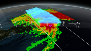 Animation revealing a swath of GPM/GMI precipitation rates over Typhoon Phanfone. The camera then moves down closer to the storm to reveal DPR's volumetric view of Phanphone. A slicing plane dissects the Typhoon from south to north and back again, revealing it's inner precipitation rates. Shades of blue indicate frozen precipitation (in the upper atmosphere). Shades of green to red are liquid precipitation which extend down to the ground.