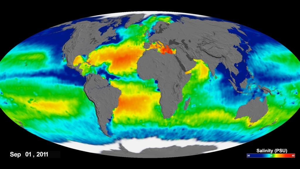 SVS: Aquarius Sea Surface Salinity 2011-2014 - Flat Maps