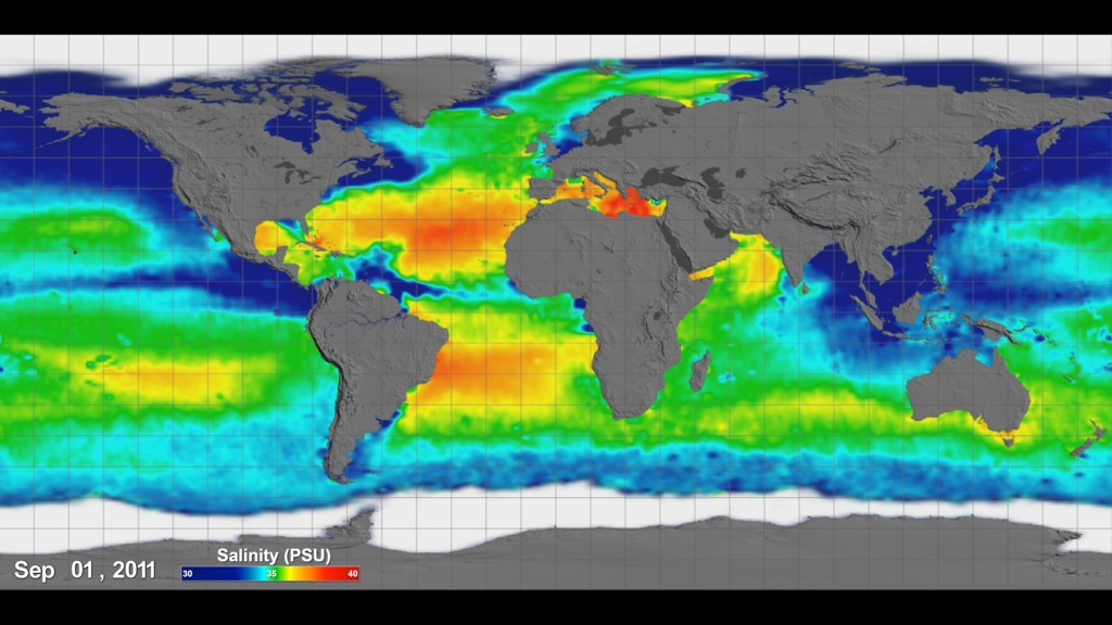 Rectangular flat map projection (Atlantic-centered) with grid lines showing Sea Surface Salinity measurements taken by Aquarius between September 2011 and September 2014.