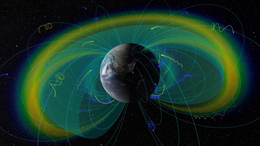 Visualization of the radiation belts with confined charged particles (blue & yellow) and plasmapause boundary (blue-green surface)