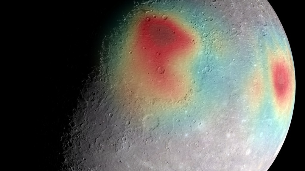 A gravity map of Mercury shows mass concentrations (red) centered on the Caloris basin (center) and the Sobkou region (right limb).