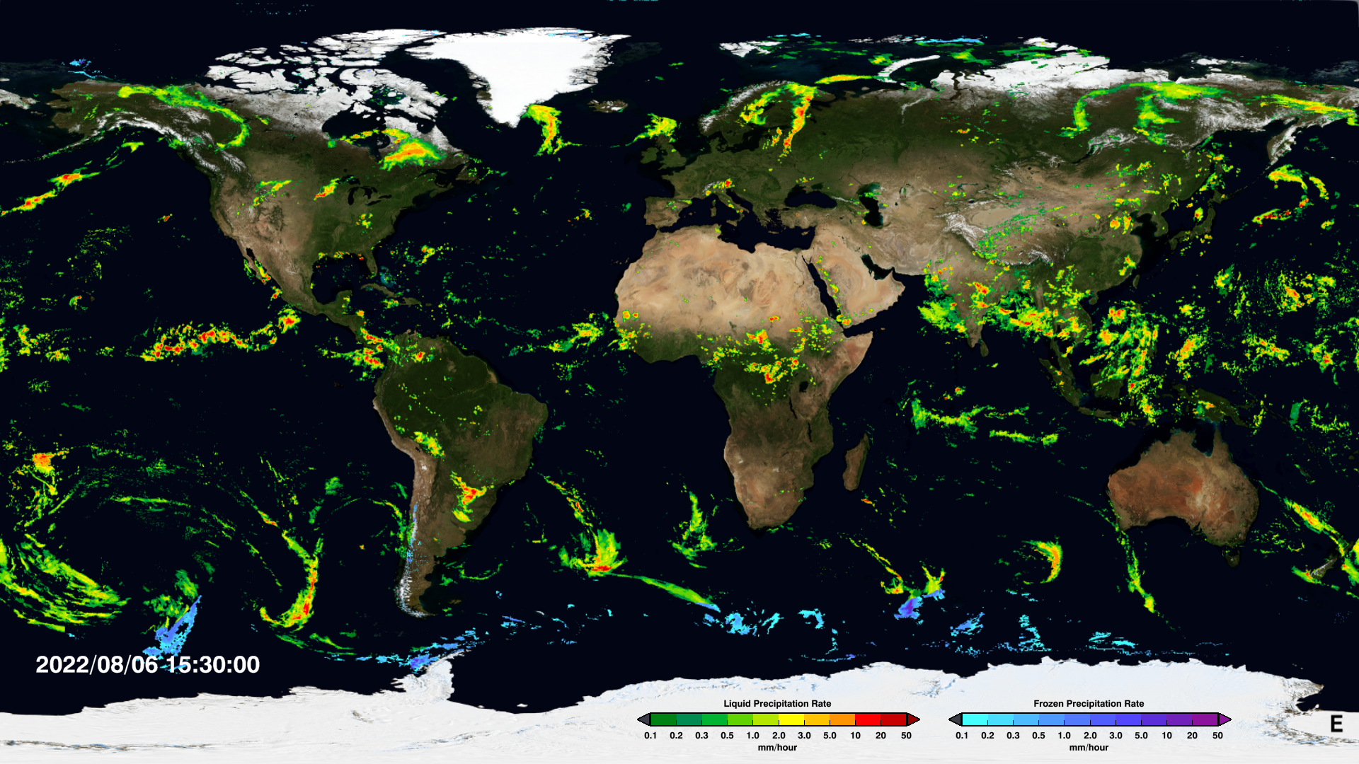 Latest half-hourly IMERG Early Run map of global precipitation