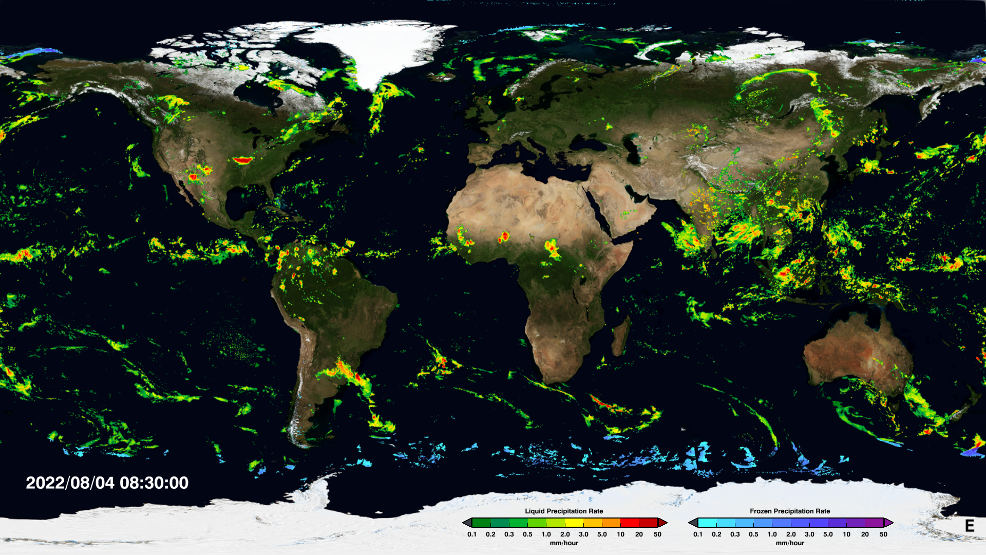 IMERG Early Run image of the Earth displaying the last half hour of global precipitation rates